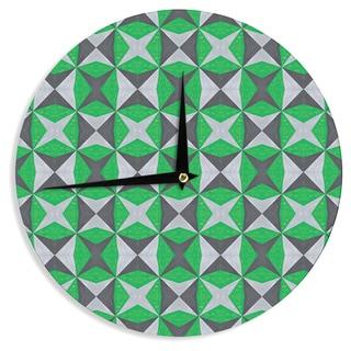 KESS InHouse Empire Ruhl 'Silver and Green Abstract' Green Black Wall Clock