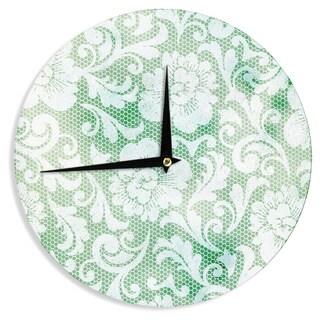 KESS InHouseHeidi Jennings 'Daydreaming' Green Floral Wall Clock