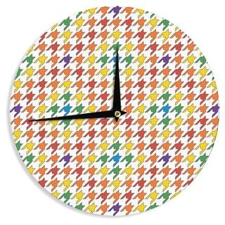 KESS InHouse Empire Ruhl 'Rainbow Houndstooth' Wall Clock