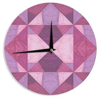KESS InHouse Empire Ruhl 'Purple Angles' Pink Geometric Wall Clock