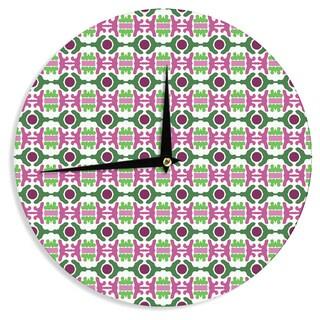 KESS InHouse Empire Ruhl 'Island Dreaming Abstract' Pink Green Wall Clock