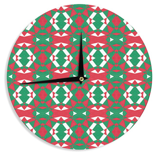 KESS InHouse Empire Ruhl 'Christmas Geo' Red Green Wall Clock