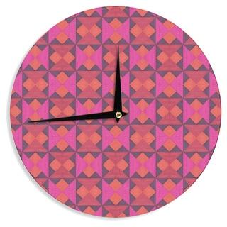 KESS InHouse Empire Ruhl 'A Quilt Pattern' Pink Red Wall Clock