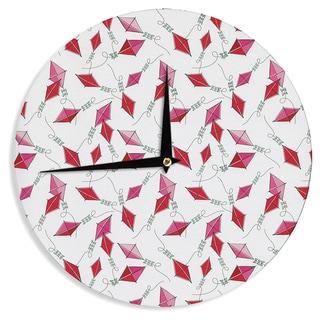 KESS InHouseHeidi Jennings 'Go Fly A Kite' White Pink Wall Clock