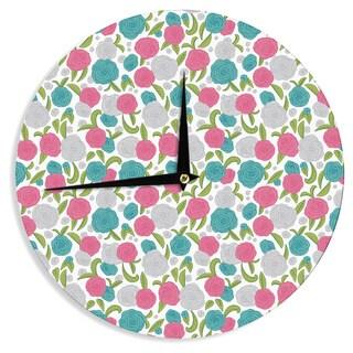KESS InHouse Emma Frances 'Vintage Brights' Teal Pink Wall Clock