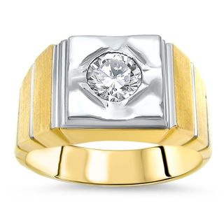 Noori 3/5ct Round Diamond Mens Ring Band 14k Yellow White Gold