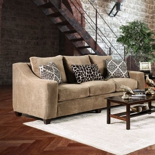 Furniture of America Plusse Contemporary Mocha Microfiber Sloped Track Arm Sofa