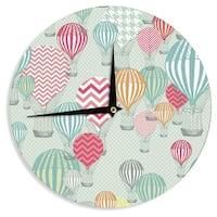 KESS InHouseHeidi Jennings 'Hot Air Baloons' Teal Multicolor Wall Clock
