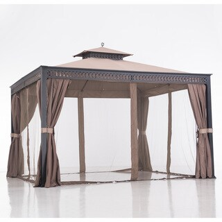 Sunjoy Brown Aluminum and Steel 12-foot x 10-foot Bewkes Gazebo