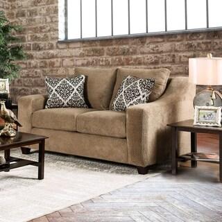 Furniture of America Plusse Contemporary Mocha Microfiber Sloped Track Arm Loveseat