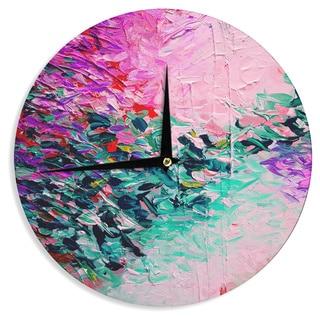 KESS InHouse Ebi Emporium 'Romantic Getaway' Pink Teal Wall Clock