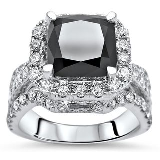 Noori 18k Gold 5 ct tdw Cushion Cut Black Diamond Engagement Ring (SI1-SI2/F-G)
