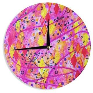 KESS InHouse Ebi Emporium 'Into the Fall 2' Pink Yellow Wall Clock