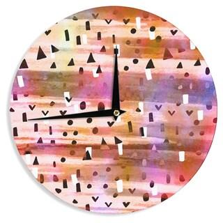 KESS InHouse Ebi Emporium 'Geo Party - Pink' Multicolor Painting Wall Clock