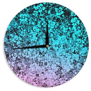 KESS InHouse Ebi Emporium 'Flower Power in Aqua' Blue Purple Wall Clock