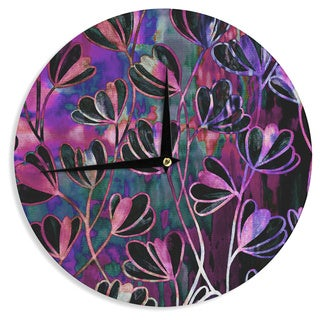 KESS InHouse Ebi Emporium 'Efflorescence - Mixed Berry' Pink Purple Wall Clock