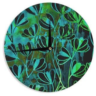 KESS InHouse Ebi Emporium 'Efflorescence - Lime Green' Teal Black Wall Clock