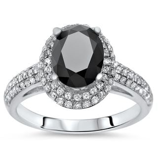 Noori 18k Gold 2 1/10 tdw Oval Black Diamond Engagement Ring (SI1-SI2/G-H)