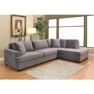 Abbyson Vista Grey Velvet Fabric Sectional Sofa