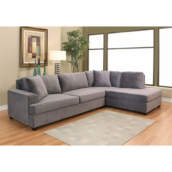 Gray Velvet Sectional Sofa: Shop Abbyson Vista Grey Velvet Fabric Sectional Sofa