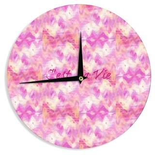 KESS InHouse Ebi Emporium 'C'est La Vie' Pink Typography Wall Clock