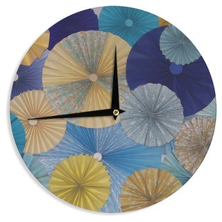 KESS InHouseHeidi Jennings 'Suspension' Gold Blue Wall Clock