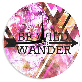KESS InHouse Ebi Emporium 'Be Wild and Wander' Pink Wall Clock