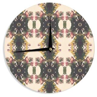 KESS InHouse Deepti Munshaw 'Enchanted Garden' Tan Floral Wall Clock