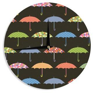 KESS InHouseHeidi Jennings 'Umbrella' Multicolor Wall Clock