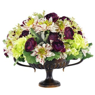 Jane Seymour Botanicals Dahlia And Ranunculus Mixed Bouquet in Brown 16-inch Wide Urn with Handles