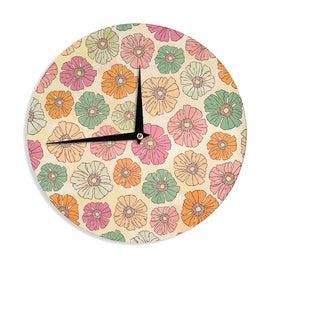KESS InHouseHeidi Jennings 'Vintage Petals' Tan Pink Wall Clock