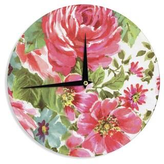 KESS InHouseHeidi Jennings 'Walk Through The Garden' Pink Flowers Wall Clock