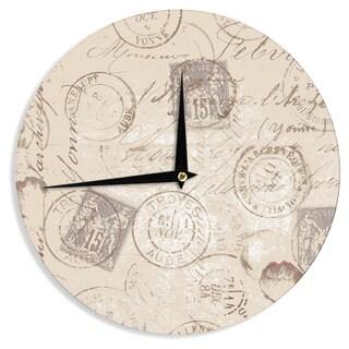 KESS InHouseHeidi Jennings 'World Traveler' Brown Wall Clock