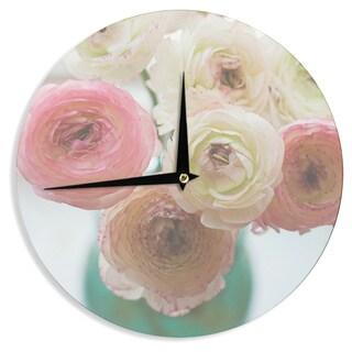 KESS InHouse Debbra Obertanec 'Pastel Ranunculus' Pink White Wall Clock