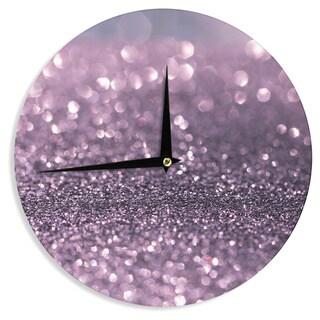 KESS InHouse Debbra Obertanec 'Lavender Sparkle' Purple Glitter Wall Clock