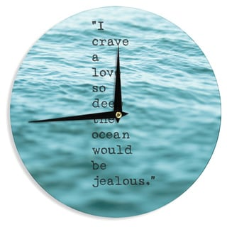 KESS InHouse Debbra Obertanec 'Crave Love' Blue Ocean Wall Clock