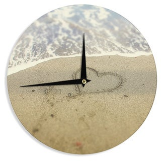 KESS InHouse Debbra Obertanec 'Beach Heart' Sand Coastal Wall Clock