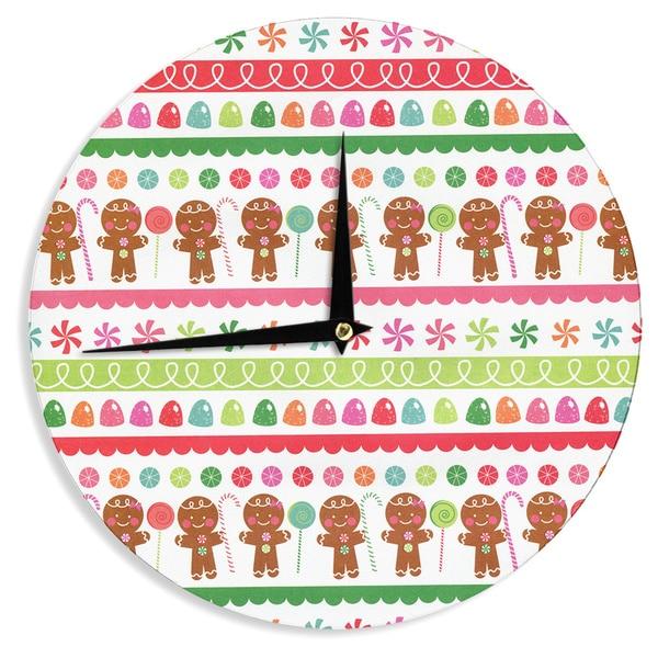 KESS InHouseHeidi Jennings 'Gumdrop Buttons' Gingerbread Wall Clock