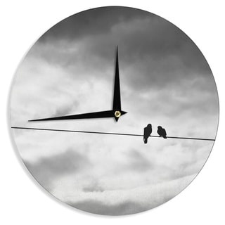 KESS InHouse Debbra Obertanec 'Friendship' Black White Wall Clock