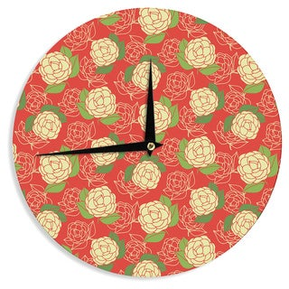 KESS InHouseHolly Helgeson 'Cammelia' Red Yellow Wall Clock