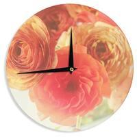 KESS InHouse Debbra Obertanec 'Coral Ranunculus' Pink Floral Wall Clock