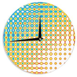 KESS InHouse Dawid Roc 'Psychedelic Art' Yellow Blue Wall Clock