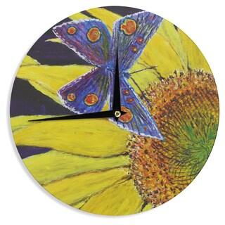KESS InHouse David Joyner 'Butterfly' Blue Yellow Wall Clock
