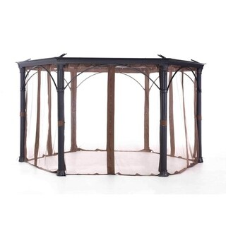 Sunjoy Brown Synthetic Fiber Universal Mosquito Netting for a Hexagonal Gazebo (As Is Item)