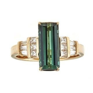 Anika and August 14K Yellow Gold Green Tourmaline and Diamond Ring