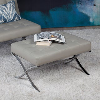 Studio Designs Home Atrium Black/Grey Bonded Leather/Chrome/Steel Ottoman