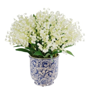 Jane Seymour Botanicals Lily Of The Valley Bouquet in 14-inch Blue White Ceramic Vase