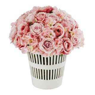 Jane Seymour Botanicals 14-inch Pink White French Rose Bouquet In Vermeil Cachepot