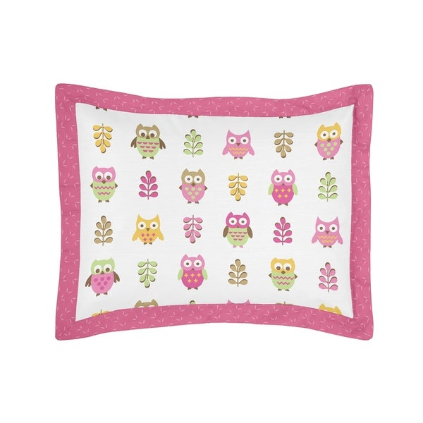 Happy Owl Collection Standard Pillow Sham by Sweet Jojo Designs