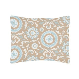 Sweet Jojo Designs Blue and Taupe Hayden Collection Standard Pillow Sham